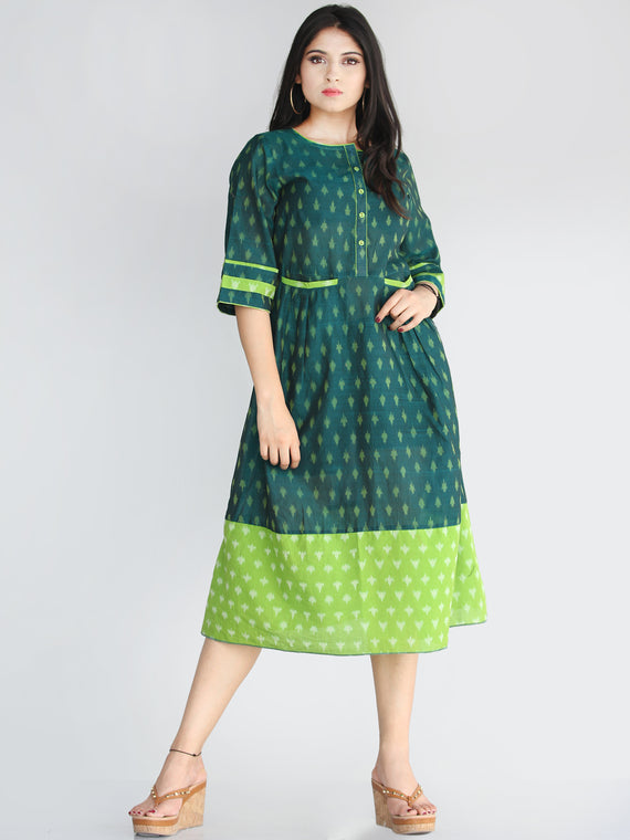 Qaima - Handwoven Cotton Silk Ikat Midi Dress With Front Pockets - D419F1960