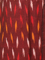 Maroon Yellow White Ikat Handwoven Cotton Suit Fabric Set of 3 - S1002027