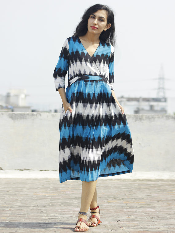 Blue Black Ivory Ikat Dress With Gathers & Side Pockets -  D118F931