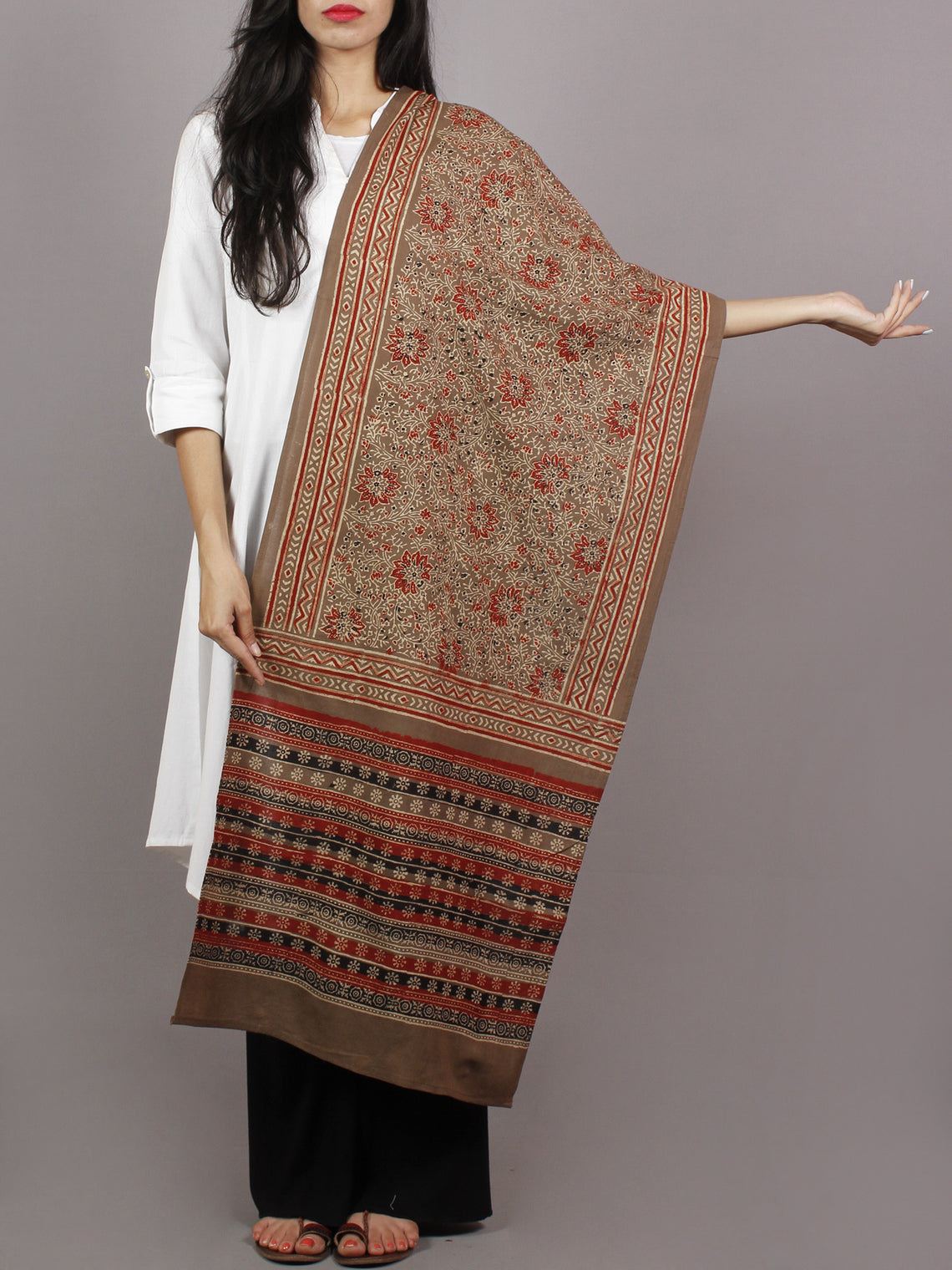 Brown Beige Maroon Black Mughal Nakashi Ajrakh Hand Block Printed Cotton Stole - S63170136