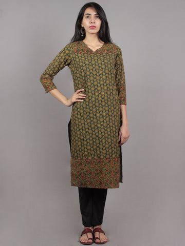 Green Maroon Biege Ajrakh Block Printed Kurta With Side Slits  - K1167301