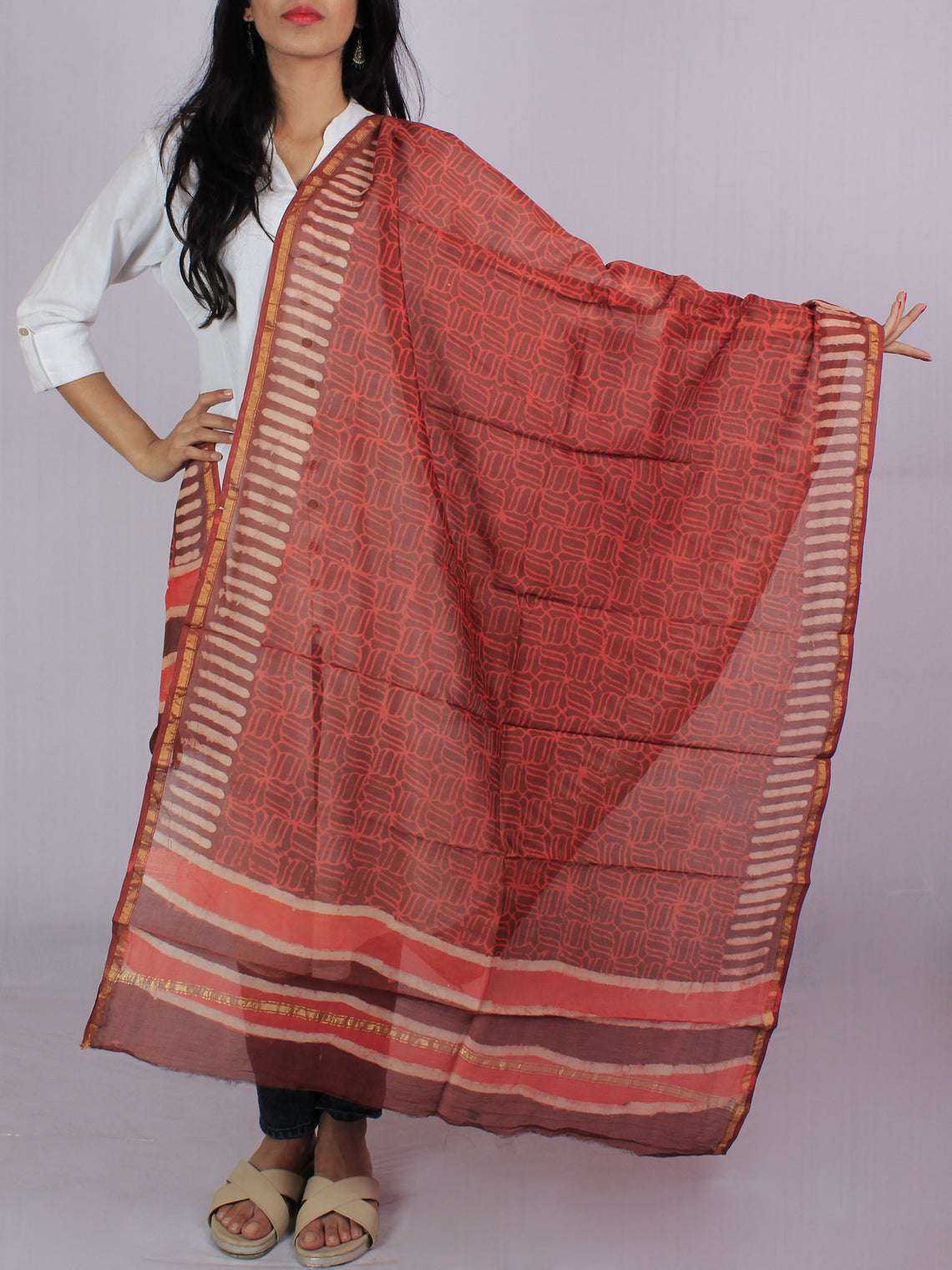 Brick Red Brown Ivory Chanderi Hand Black Printed Dupatta - D04170116