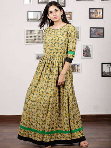 Mustard Green Ivory Black Hand Block Printed Cotton Long Dress With Back Details - D136F1132