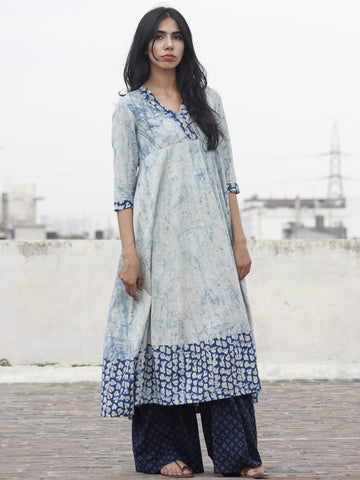 Light Blue Ivory Indigo Hand Block Printed Kurti With 3/4 Sleeve - K15F470