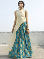 Ivory Teal Golden Asymmetrical Kurta With Box Pleated Skirt (Set of 2) - D123F001