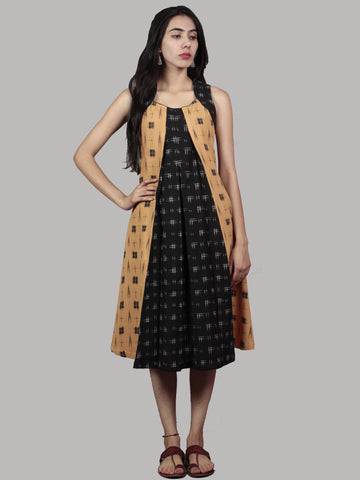 Black Mustard Grey Handwoven Double Ikat Dress With Front Pleats  - D5266601