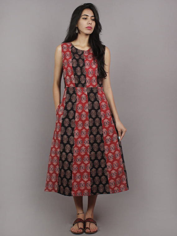 Red Black Maroon Beige Ajrakh Printed Cotton Sleeveless Dress With Side Pockets - D4562701