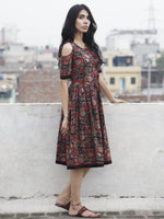 Black Maroon Brown Hand Block Printed Dress With Cold Shoulders And Tassels - D69F597