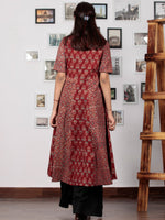 Red Beige Black Blue Ajrakh Hand Block Printed Kurta  - K64BP0128