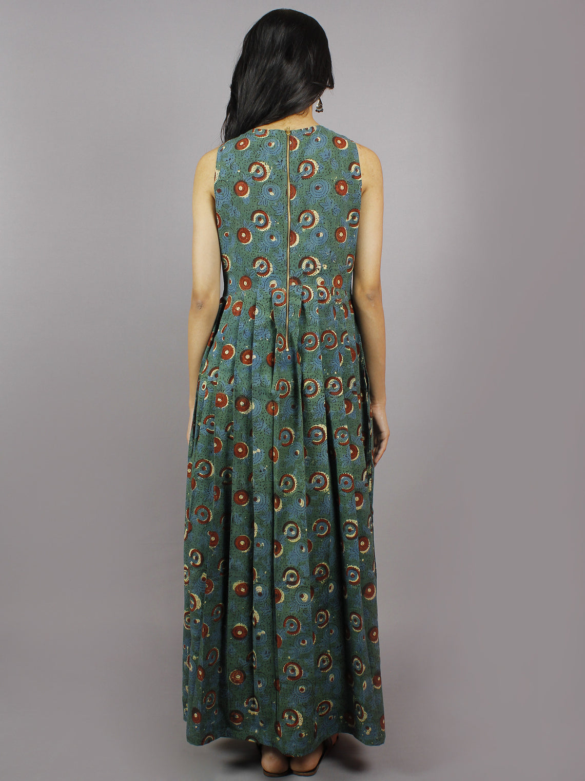 Long Sleeveless Hand Block Printed Cotton Dress With Knife Pleats & Side Pockets