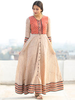 Naaz Ragni - Hand Block Geometric Printed Long Cotton Shirt Urave Cut Dress - DS90F001