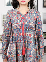 Indigo Beige Coral Hand Block Printed Cotton Dress With Full Sleeves - D270F1379