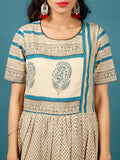 Beige Black Teal Blue Hand Block Printed Long Cotton Tier Dress With Gathers -  DS51F001