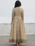 Beige Mustard Maroon Black Hand Block Printed Angrakha Dress With Gathers -  DS11F003