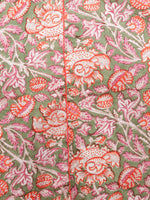 Green Orange Pink White Hand Block Printed Long Kurta With Front Slit - K95F1505