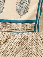Naaz Beige Black Teal Blue Hand Block Printed Long Cotton Tier Dress With Gathers -  DS51F001