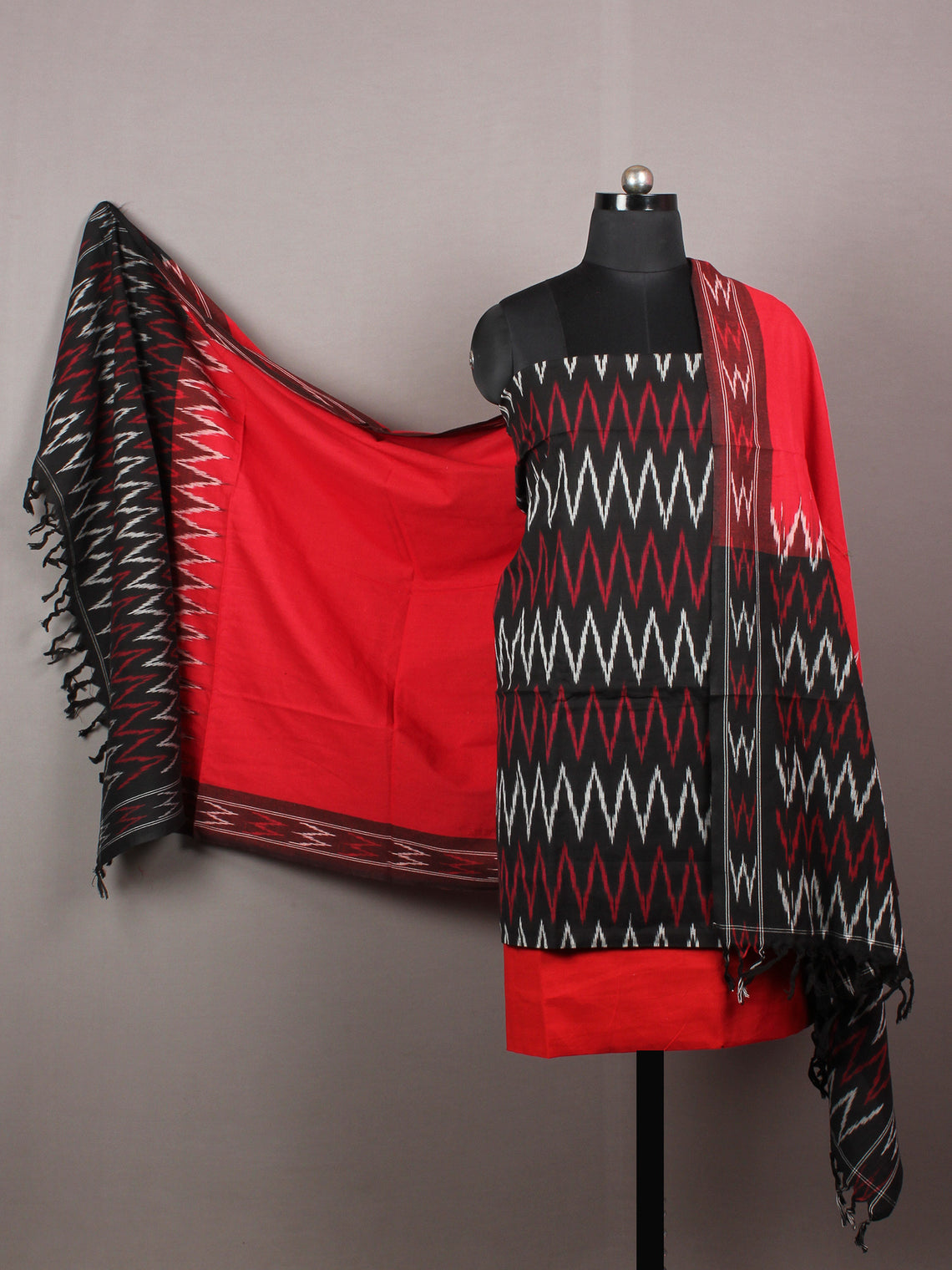 Red Black White Ikat Handwoven Cotton Suit Fabric Set of 3 - S1002030