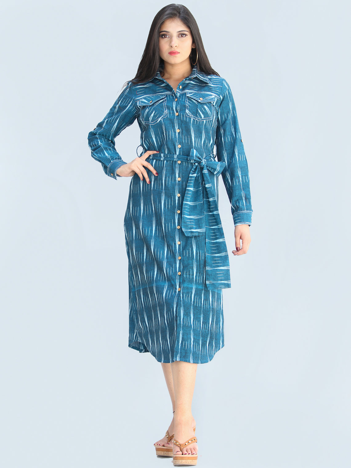 Nazan - Handwoven Ikat Tie Up Shirt Dress - D423F1947