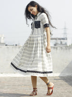 Ivory Black Blue Handwoven Ikat Dress With Pockets and Gathers -  D116F950