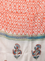 White Coral Teal Blue Hand Block Printed Cotton Suit-Salwar Fabric With Chiffon Dupatta (Set of 3) - SU01HB352