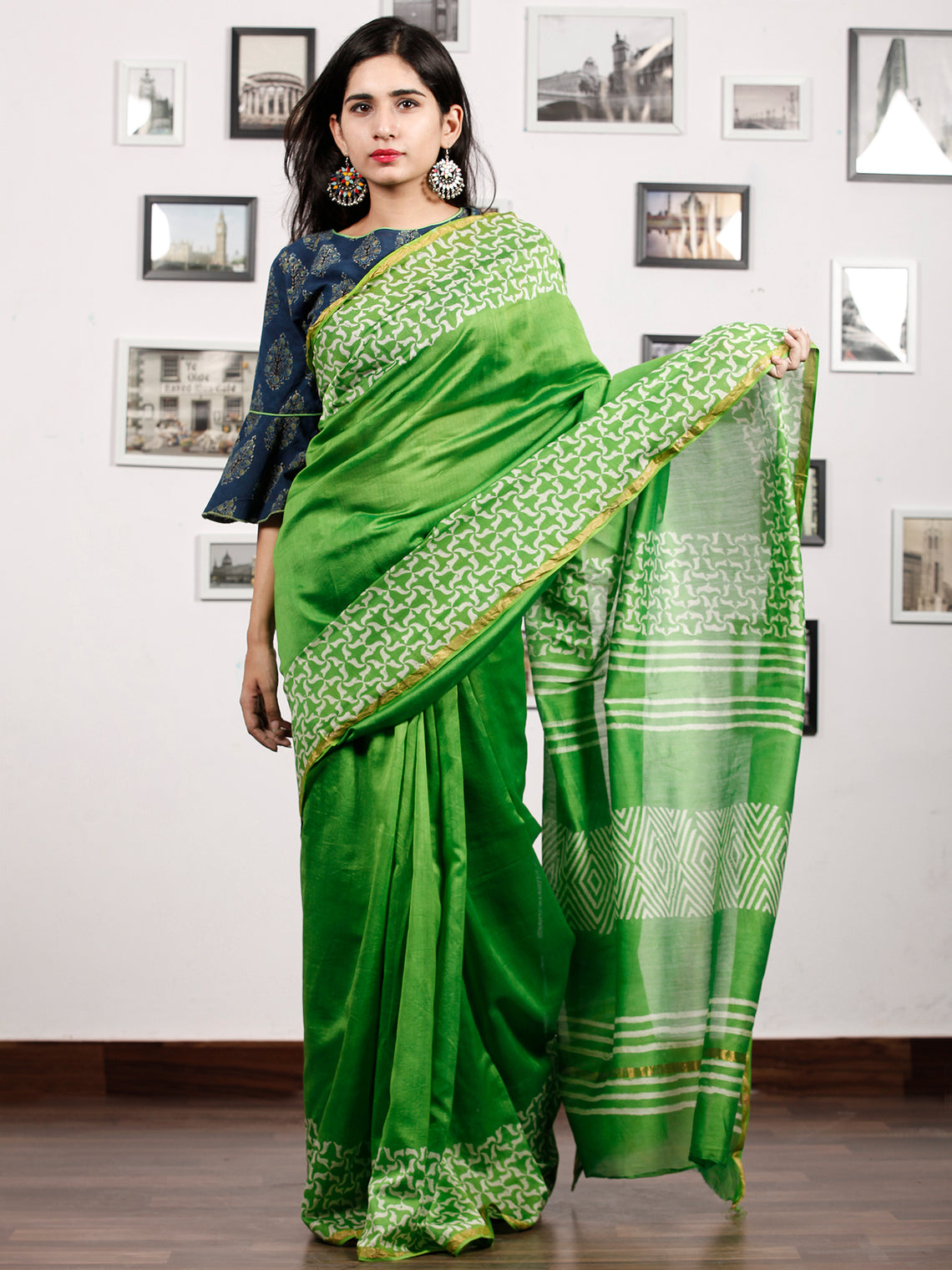 Green White Chanderi Silk Hand Block Printed Saree With Zari Border - S031703183