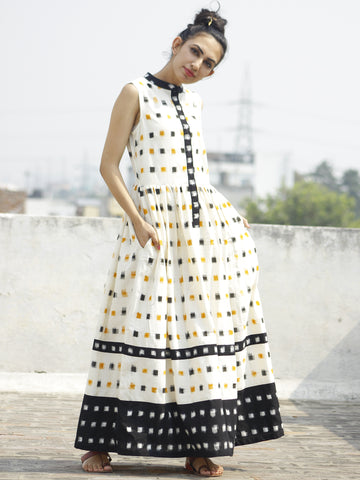 Ivory Black Mustard Handwoven Ikat  Sleeveless Dress With Side Pockets-  D107F764
