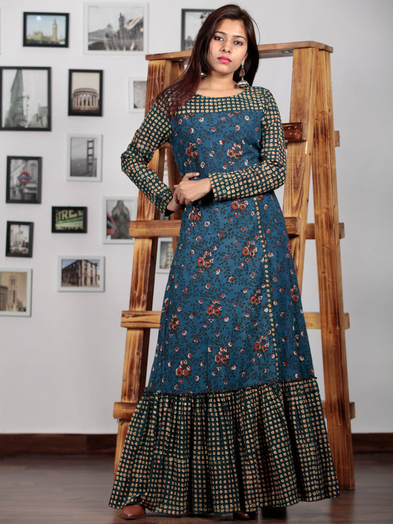 Indigo Rust Hunter Green Yellow Hand Block Printed Long Dress With Front Slit - D226F1319