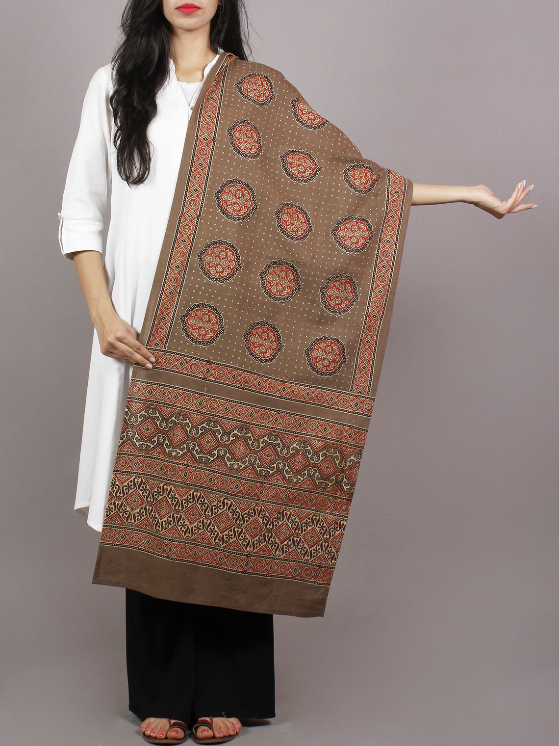 Brown Beige Maroon Black Mughal Nakashi Ajrakh Hand Block Printed Cotton Stole - S63170140