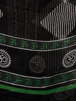 Black White Green Grey Hand Block Printed Cotton Suit-Salwar Fabric With Chiffon Dupatta (Set of 3) - SU01HB354