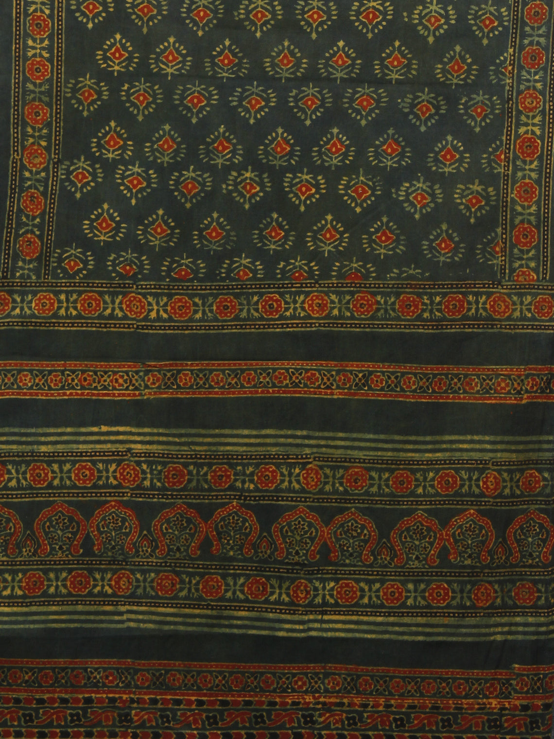 Dark Green Maroon Black Mughal Nakashi Ajrakh Hand Block Printed Cotton Stole - S63170141