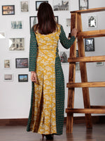 Green Rust Mustard Ivory Hand Block Printed Cotton Dress With Tie Up Detail At Waist  -  D176F1303