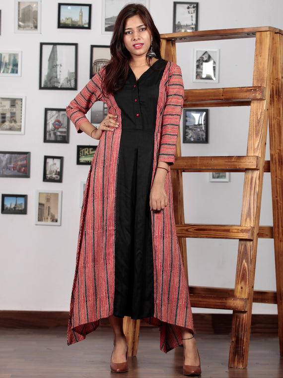 Black Red Hand Block Printed Cotton Rayon Long Dress With Centre Inverted Pleat  - D233F628