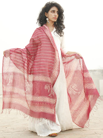 Punch Pink  Ivory Chanderi Hand Black Printed & Hand Painted Dupatta - D04170240