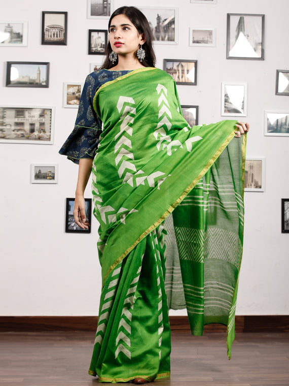 Green White Chanderi Silk Hand Block Printed Saree With Zari Border - S031703184