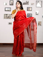 Red Ivory Chanderi Silk Hand Block Printed Saree With Zari Border - S031703185