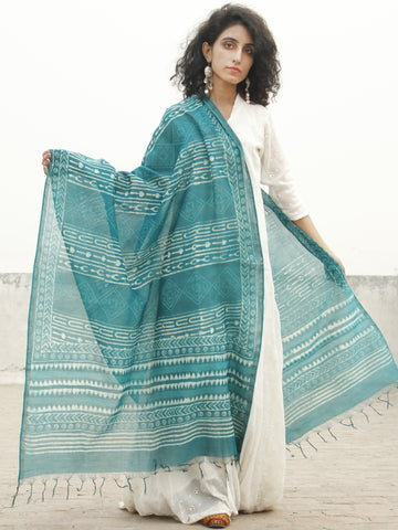 Teal Green Ivory Chanderi Hand Black Printed & Hand Painted Dupatta - D04170242