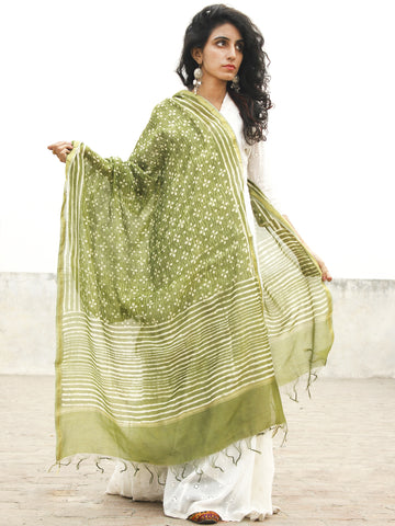 Olive Green Ivory Chanderi Hand Black Printed & Hand Painted Dupatta - D04170243
