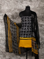 Black White Yellow Hand Block Printed Cotton Suit-Salwar Fabric With Chiffon Dupatta (Set of 3) - SU01HB359