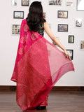 Pink Golden Chanderi Silk Hand Block Printed Saree With Zari Border - S031703186