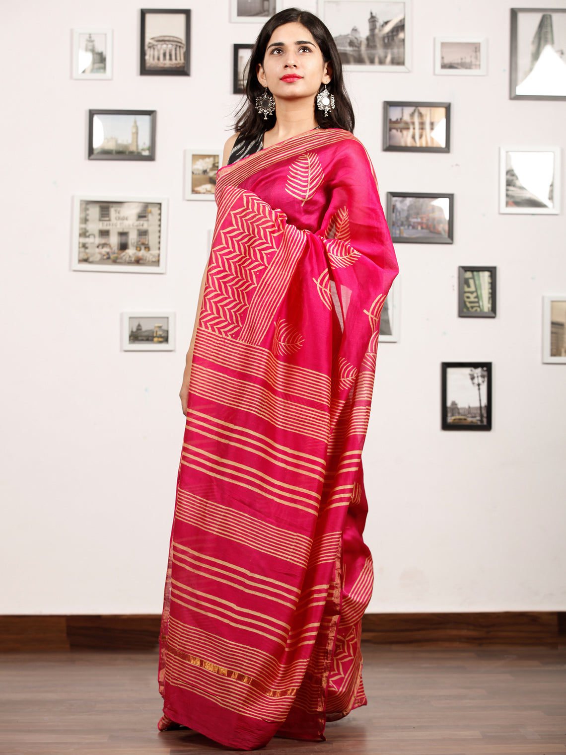 Pink Beige Chanderi Silk Hand Block Printed Saree With Zari Border - S031703187