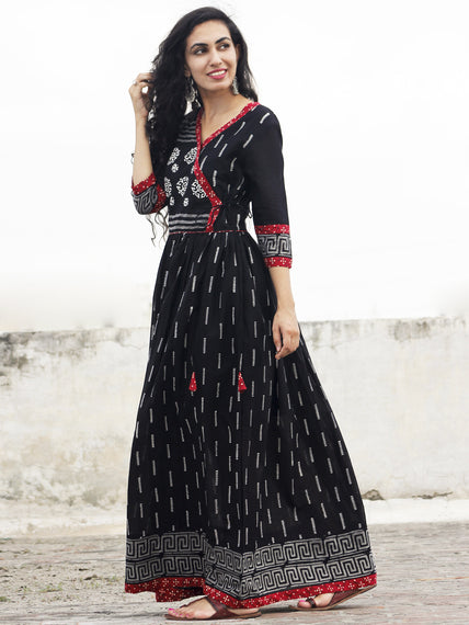 Black Ivory Grey  Maroon Hand Block Printed Angrakha Dress With Gathers -  DS19F001