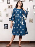 BLUE OO - Handwoven Double Ikat  Dress With Tassels - D321F853