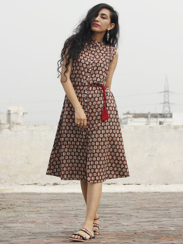 Brown Kashish Maroon Ivory Hand Block Printed Cotton Sleeveless Dress With Front Slit And Tie Up Waist - D89F432