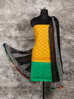 Yellow Green Black White Hand Block Printed Cotton Suit-Salwar Fabric With Chiffon Dupatta (Set of 3) - SU01HB326