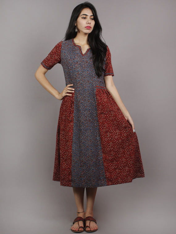 Indigo Maroon Beige Ajrakh Hand Block Printed Cotton Panel Dress With Front Pockets - D2164902
