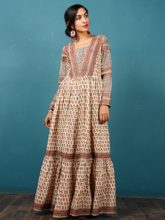 Naaz Beige Black Rust Grey Hand Block Printed Long Cotton Tier Dress With Gathers & Lining -  DS52F001