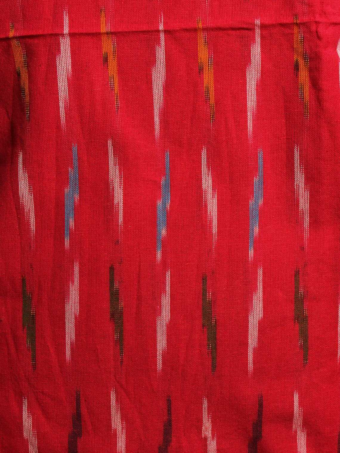 Currant Red Yellow Black White Ikat Handwoven Cotton Suit Fabric Set of 3 - S1002004
