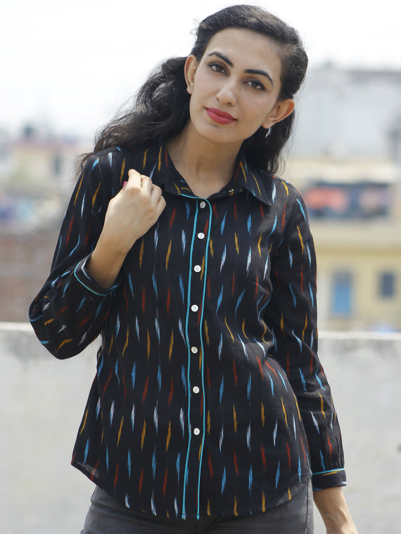 Black Blue Mustard Red Hand Woven Ikat Shirt  - T17F725
