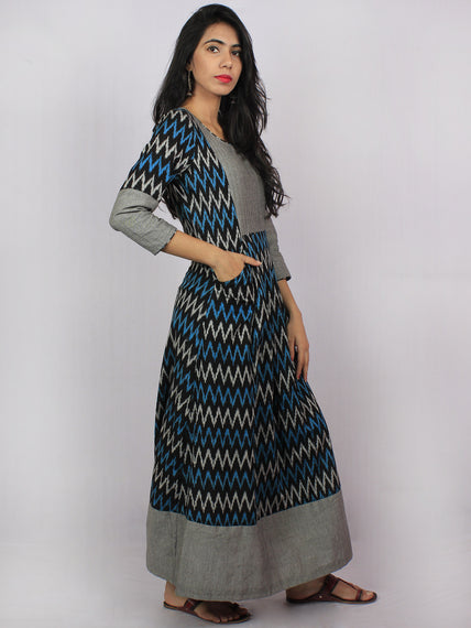 Black Grey Blue Ikat Handwoven Long Cotton & Linen Pleated Dress With Back Buttons - D2956701