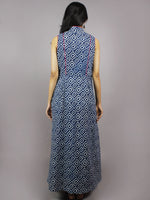 Indigo White Hand Block Printed Princess Line Stand Collar Dress - D40F893